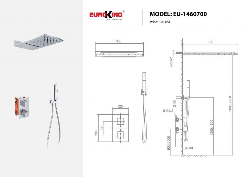 Sơ đồ kĩ thuật Sen tắm âm tường EU-1460700