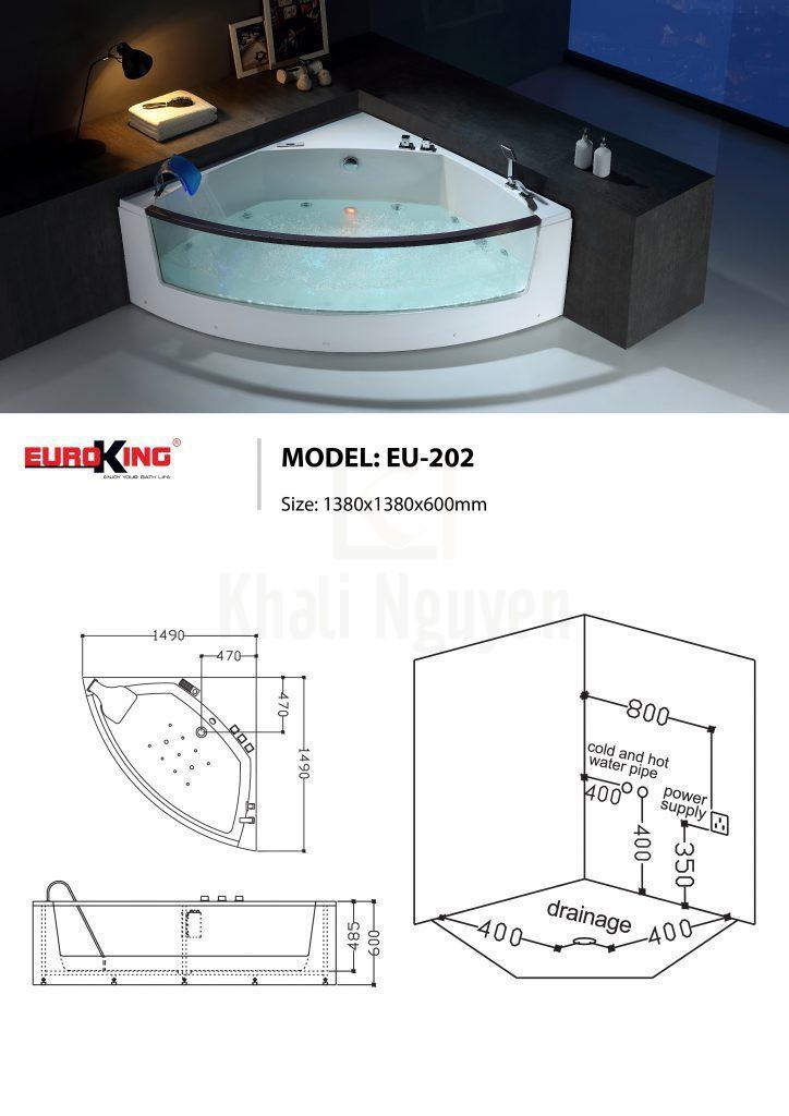 Bản vẽ sơ đồ kỹ thuật của bồn tắm massage EU – 202