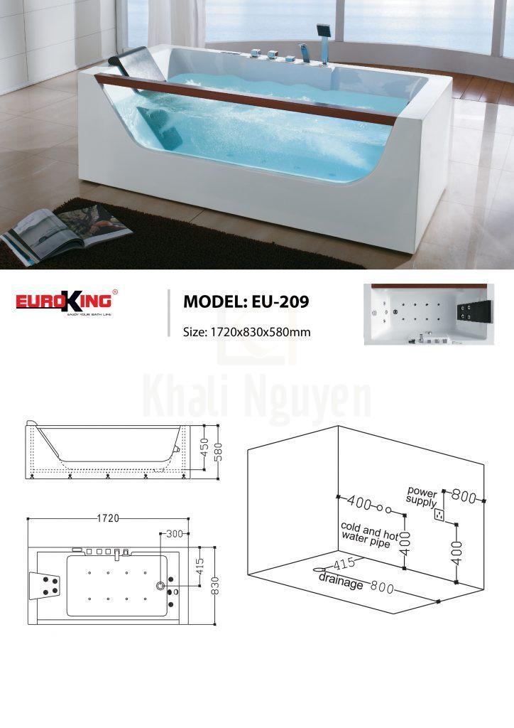 Bản vẽ sơ đồ kỹ thuật bồn tắm massage EU – 209