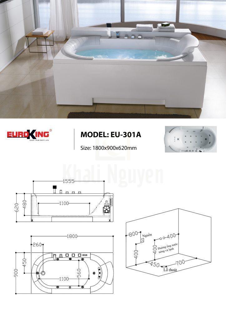 Bản vẽ sơ đồ kỹ thuật bồn tắm massage EU – 301A