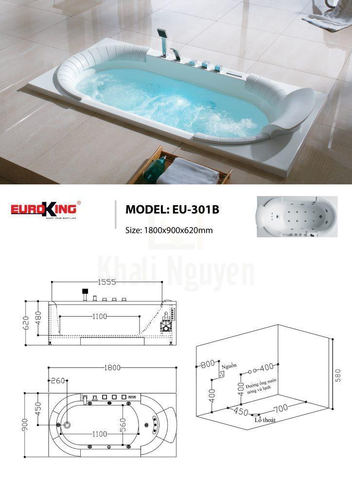 Bản vẽ kỹ thuật bồn tắm massage EU-208