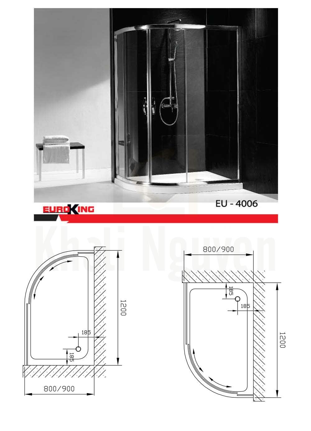 Bản vẽ kỹ thuật Phòng tắm vách Euroking kính EU-4006