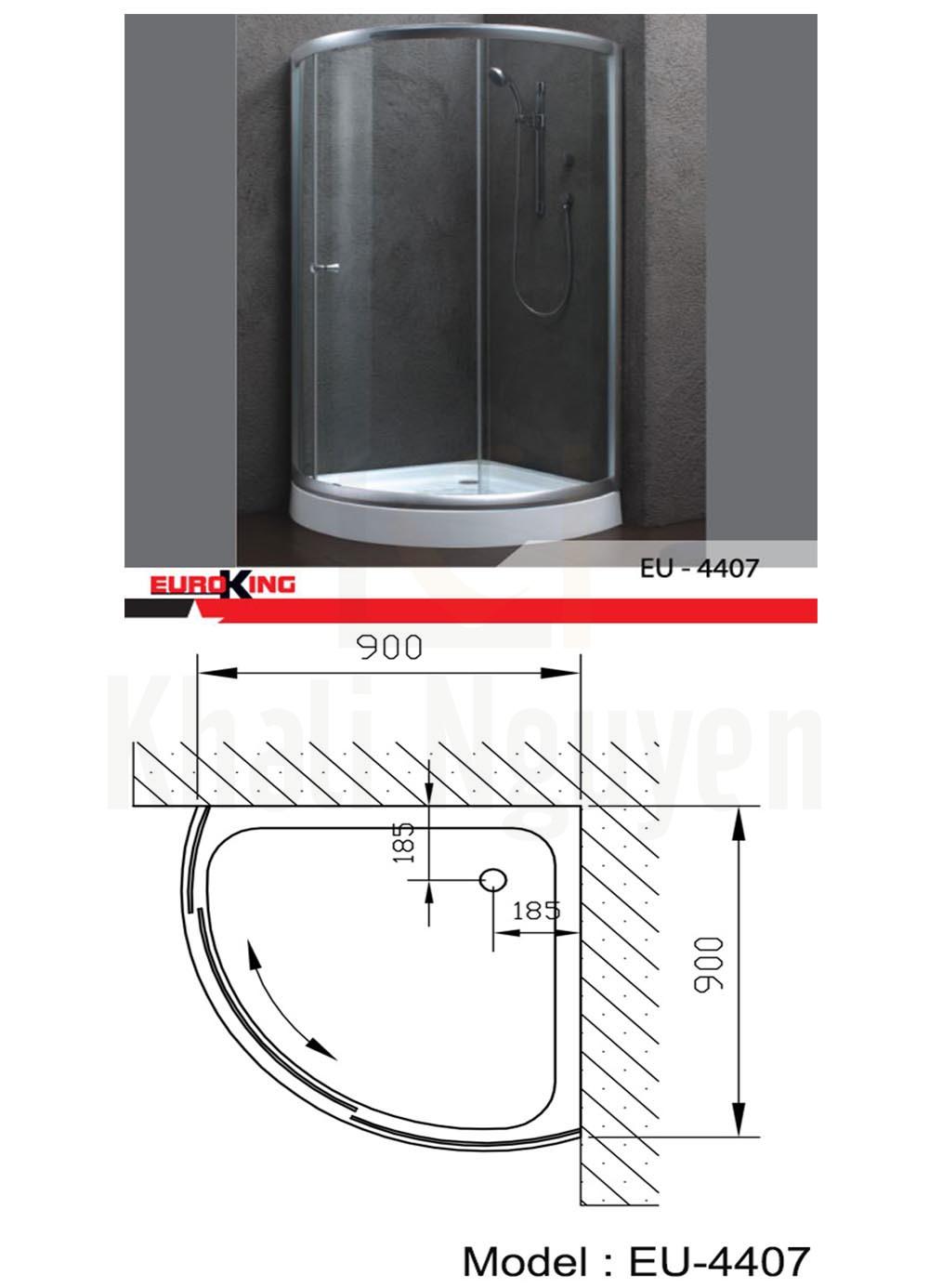 bản vẽ Phòng tắm vách kính Euroking EU-4407