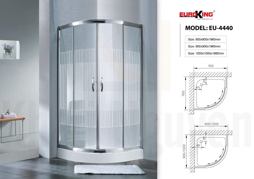 Bản vẽ Phòng tắm vách kính Euroking EU-4440