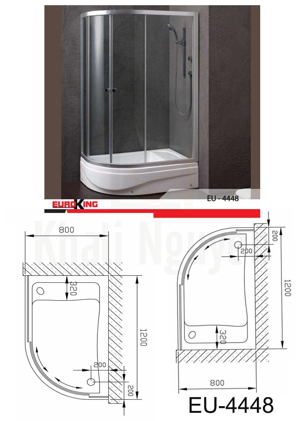 Bản vẽ Phòng tắm vách kính Euroking EU-4448A