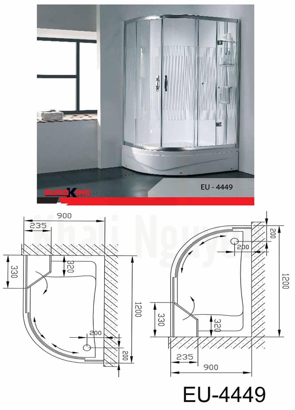 Bản vẽ kỹ thuật Phòng tắm vách kính Euroking EU-4449