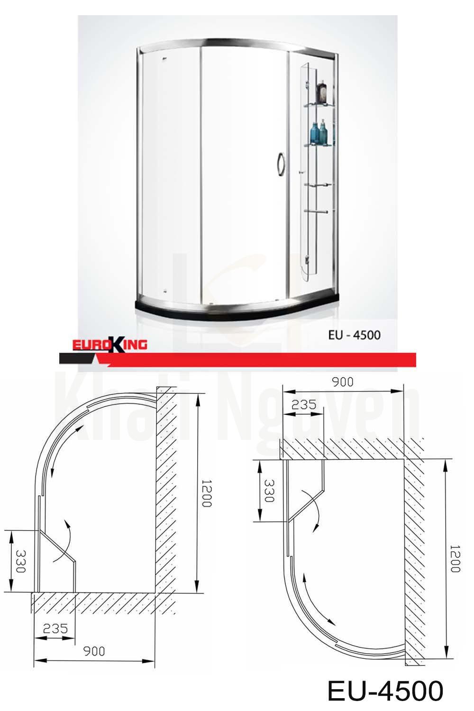 Bản vẽ Phòng tắm vách kính Euroking EU-4500