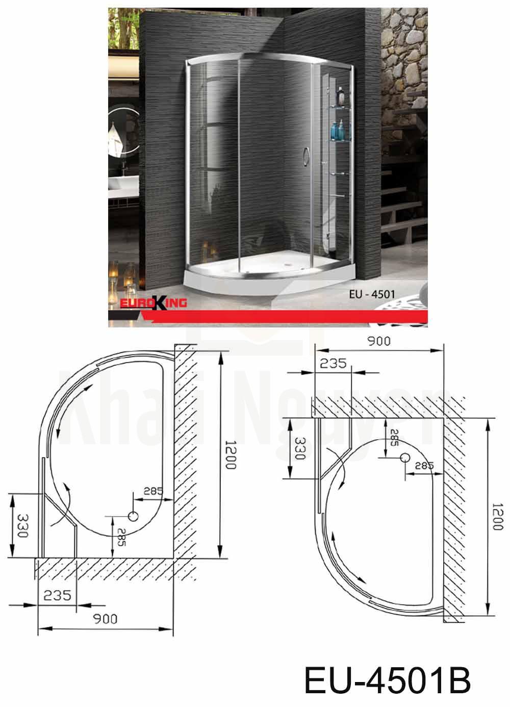 Bản vẽ Phòng tắm vách kính Euroking EU-4501
