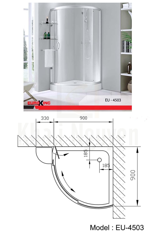Bản vẽ Phòng tắm vách kính Euroking EU-4503