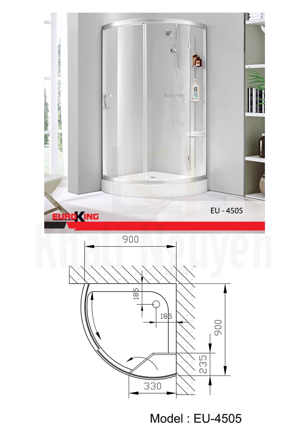 Bản vẽ Phòng tắm vách kính Euroking EU- 4505