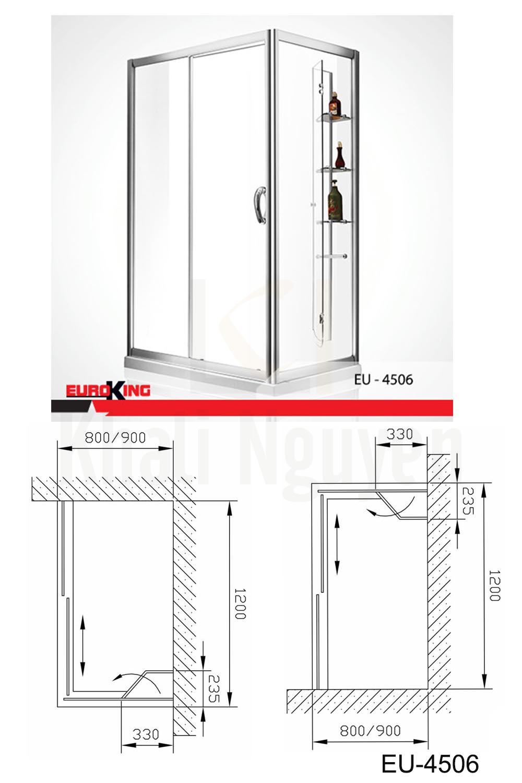bản vẽ Phòng tắm vách kính Euroking EU-4506