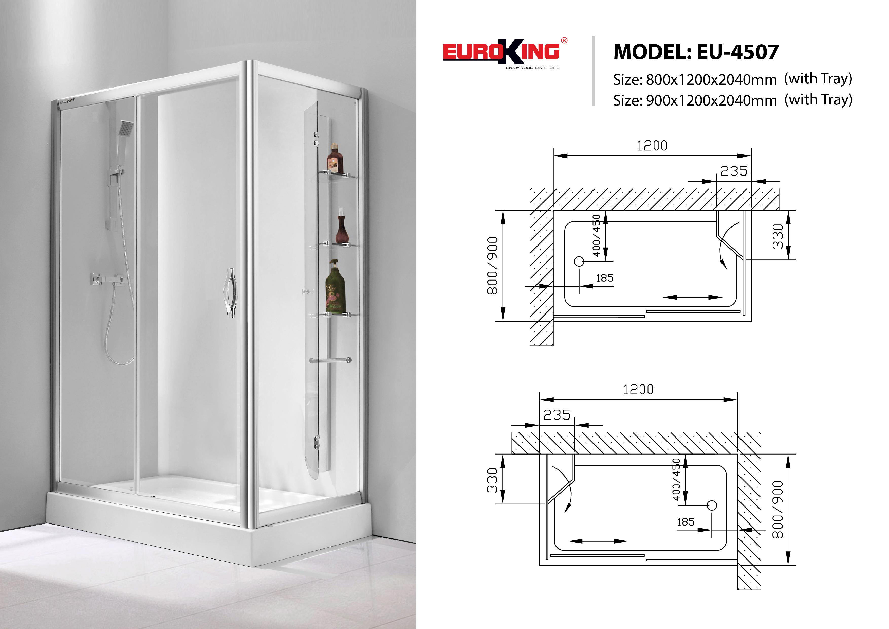bản vẽ Phòng tắm vách kính Euroking EU-4507