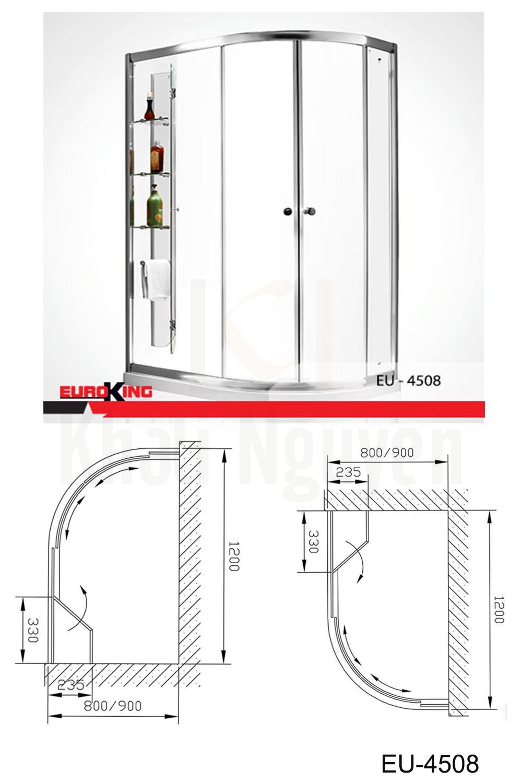Bản vẽ Phòng tắm vách kính Euroking EU-4508