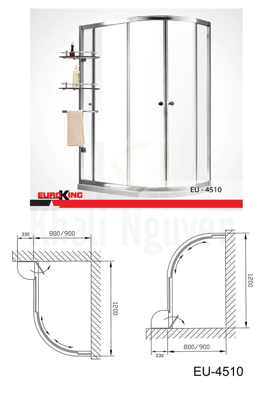 Bản vẽ Phòng tắm vách kính Euroking EU-4510