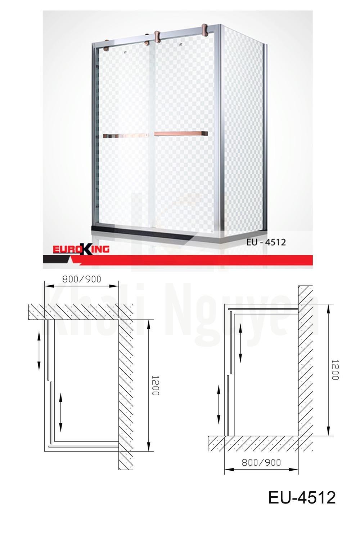 Bản vẽ Phòng tắm vách kính Euroking EU-4512