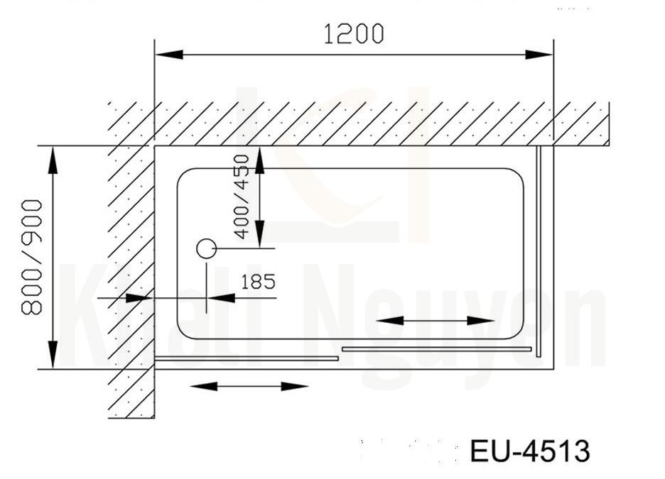 Bản vẽ phòng tắm vách kính Euroking EU-4513