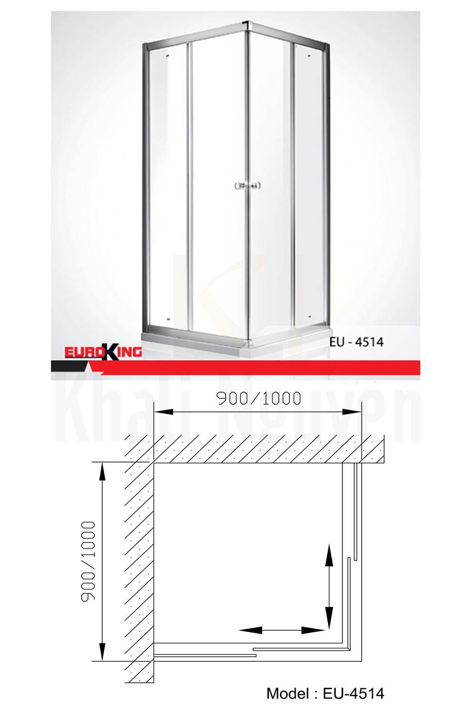 Bản vẽ Phòng tắm vách kính Euroking EU-4514
