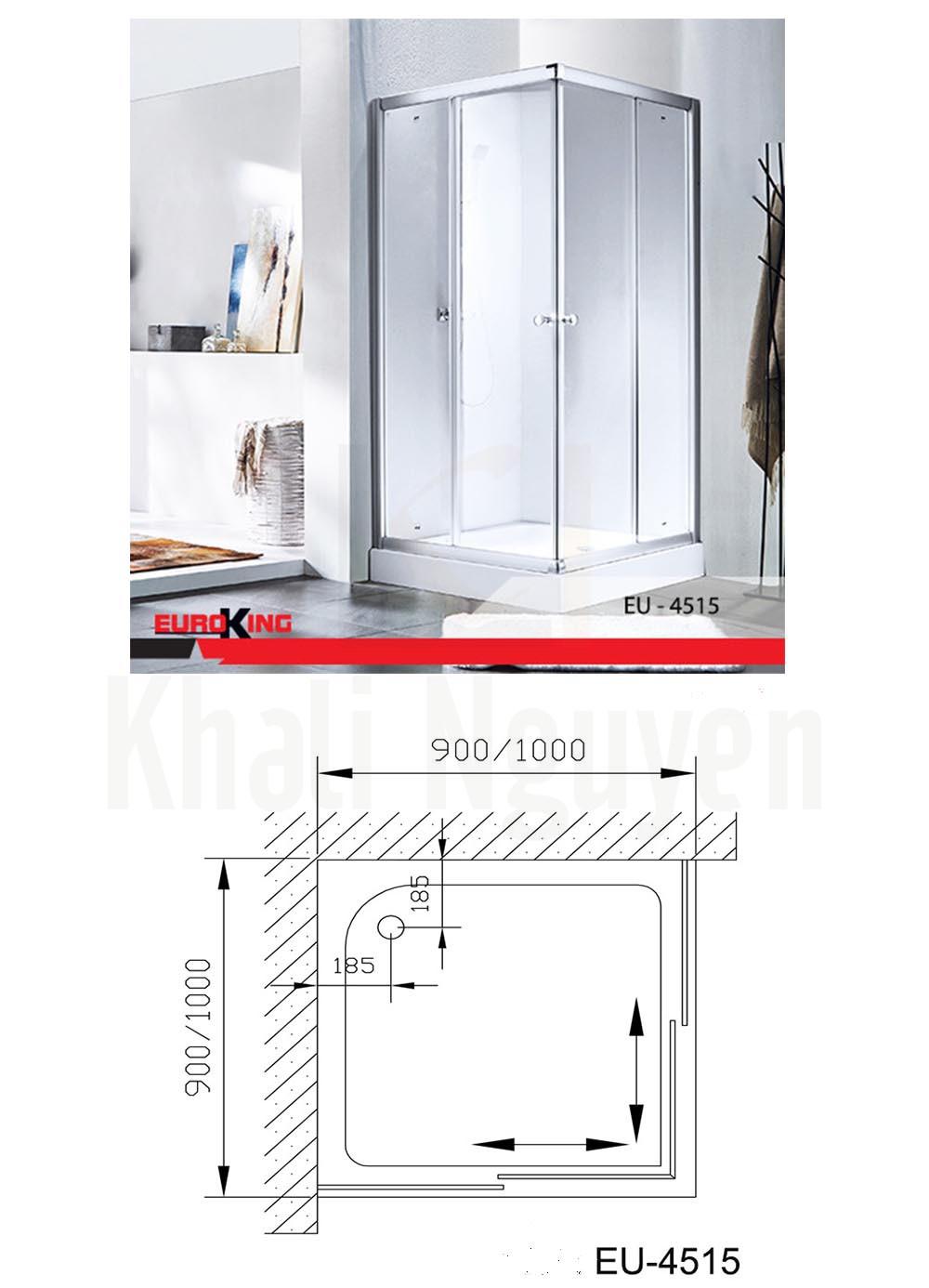Bản vẽ Phòng tắm vách kính Euroking EU-4515