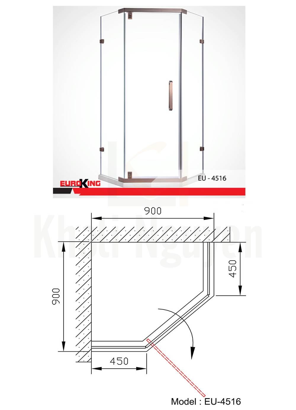 Bản vẽ Phòng tắm vách kính Euroking EU-4516
