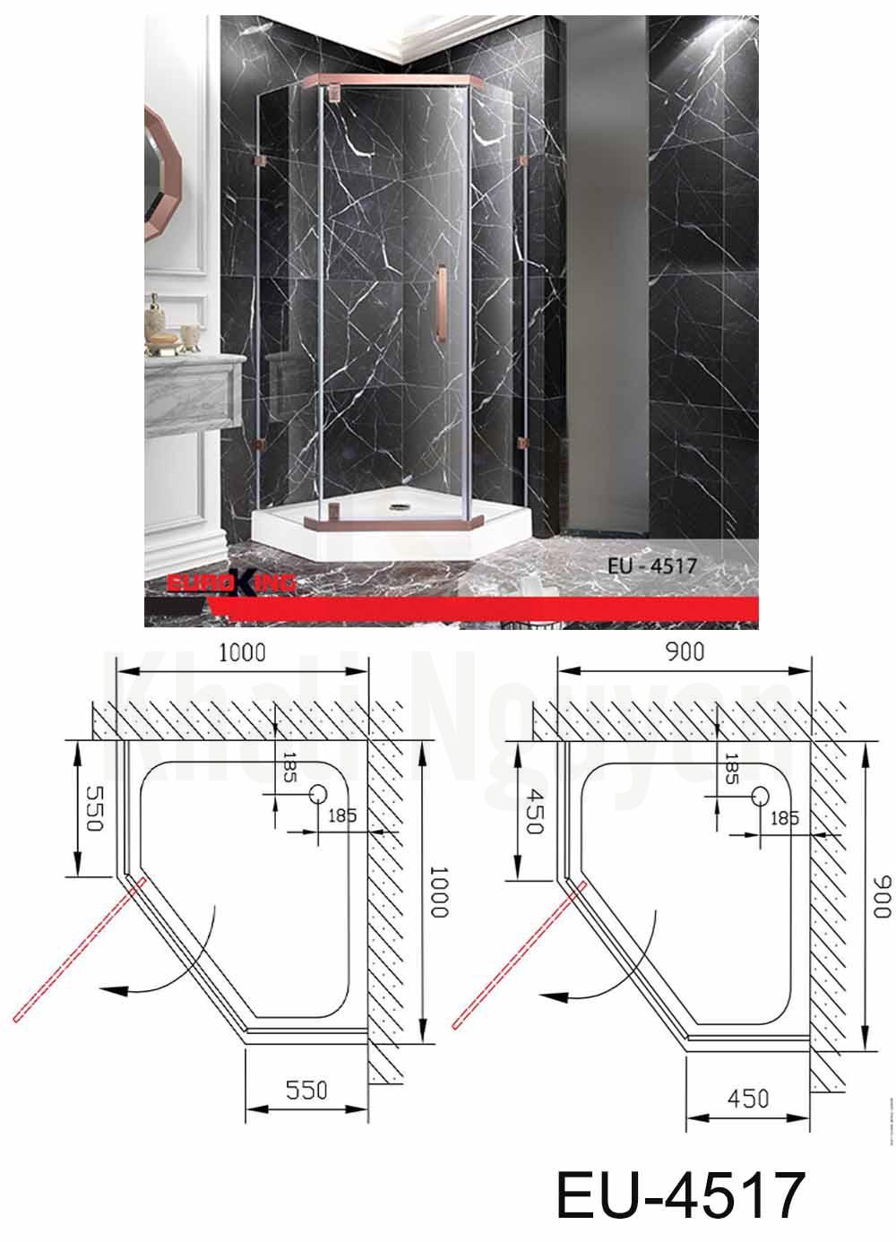 Bản vẽ Phòng tắm vách kính Euroking EU-4517