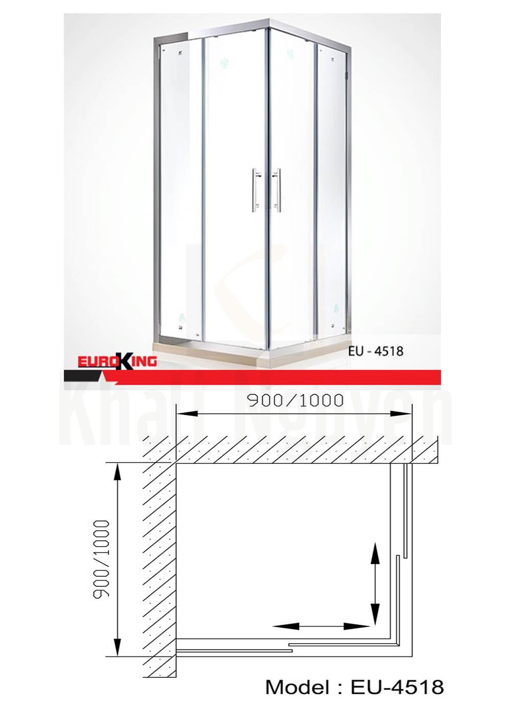 Bản vẽ kỹ thuật Phòng tắm vách kính Euroking EU- 4518