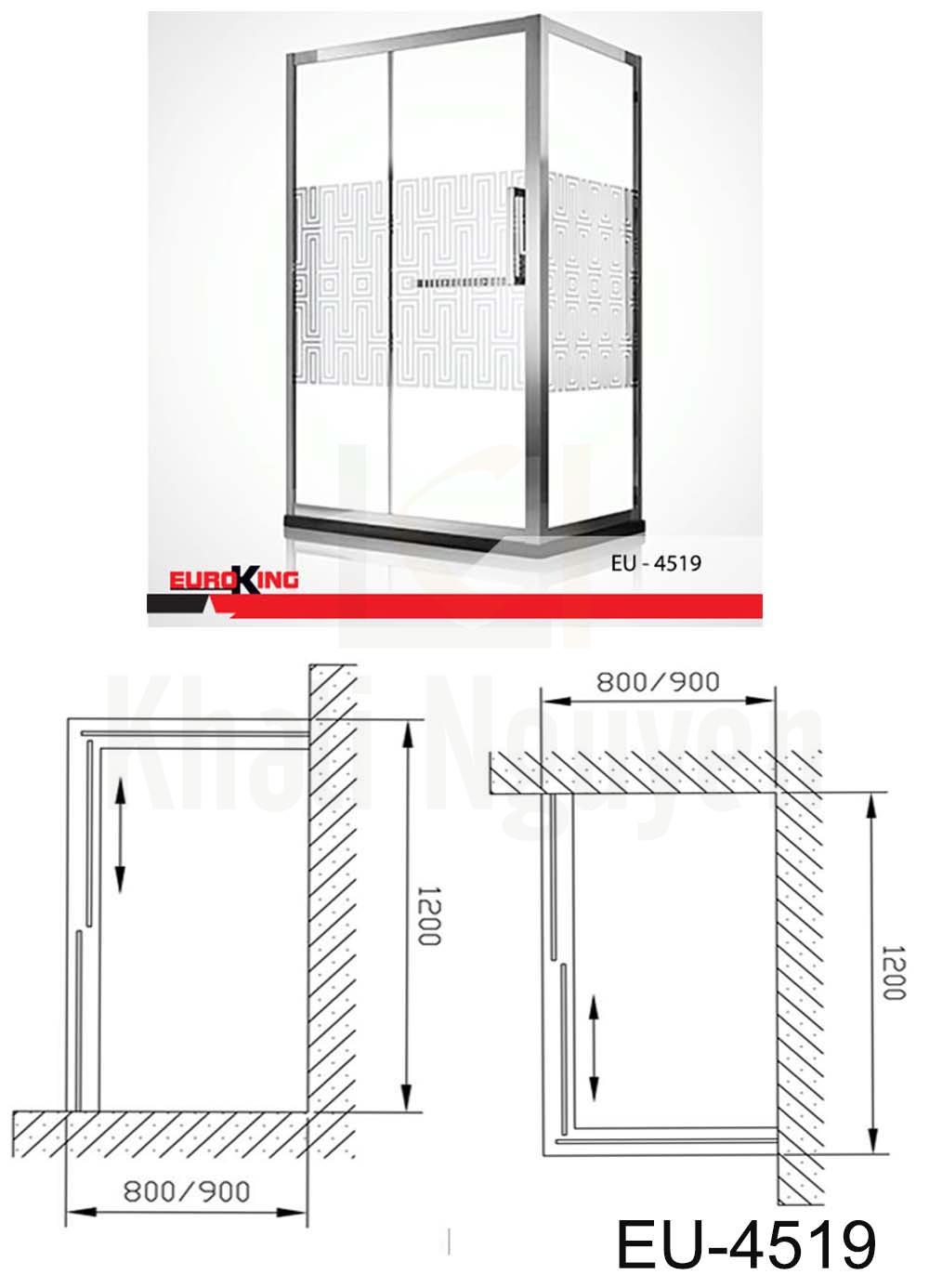 Bản vẽ Phòng tắm vách kính EuroKing EU – 4519