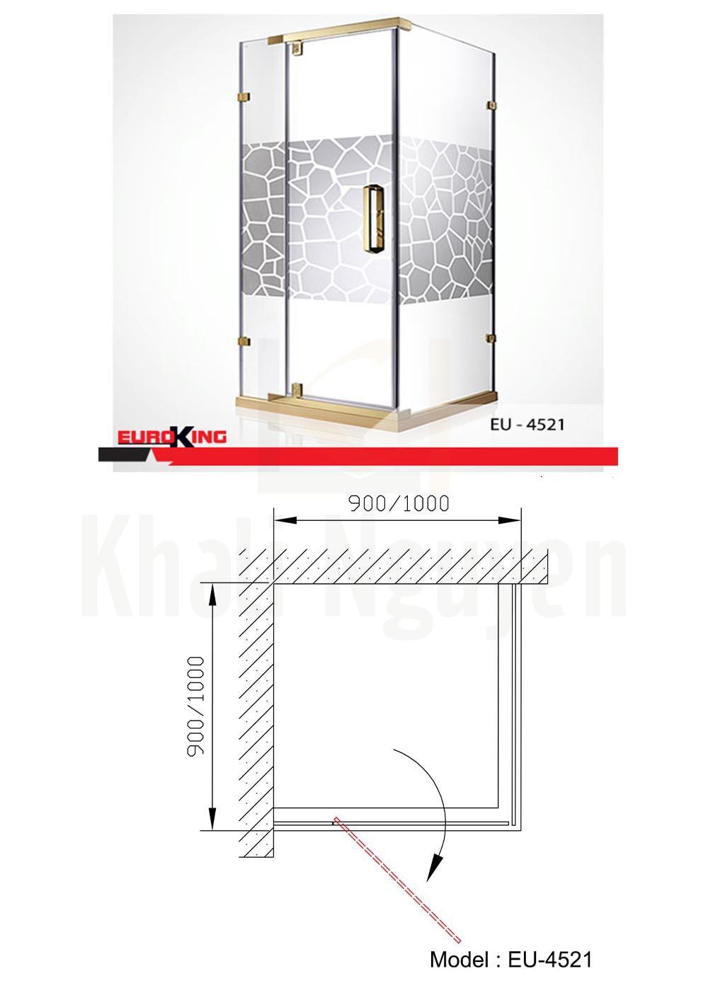 Bản vẽ Phòng tắm vách kính EuroKing EU – 4521