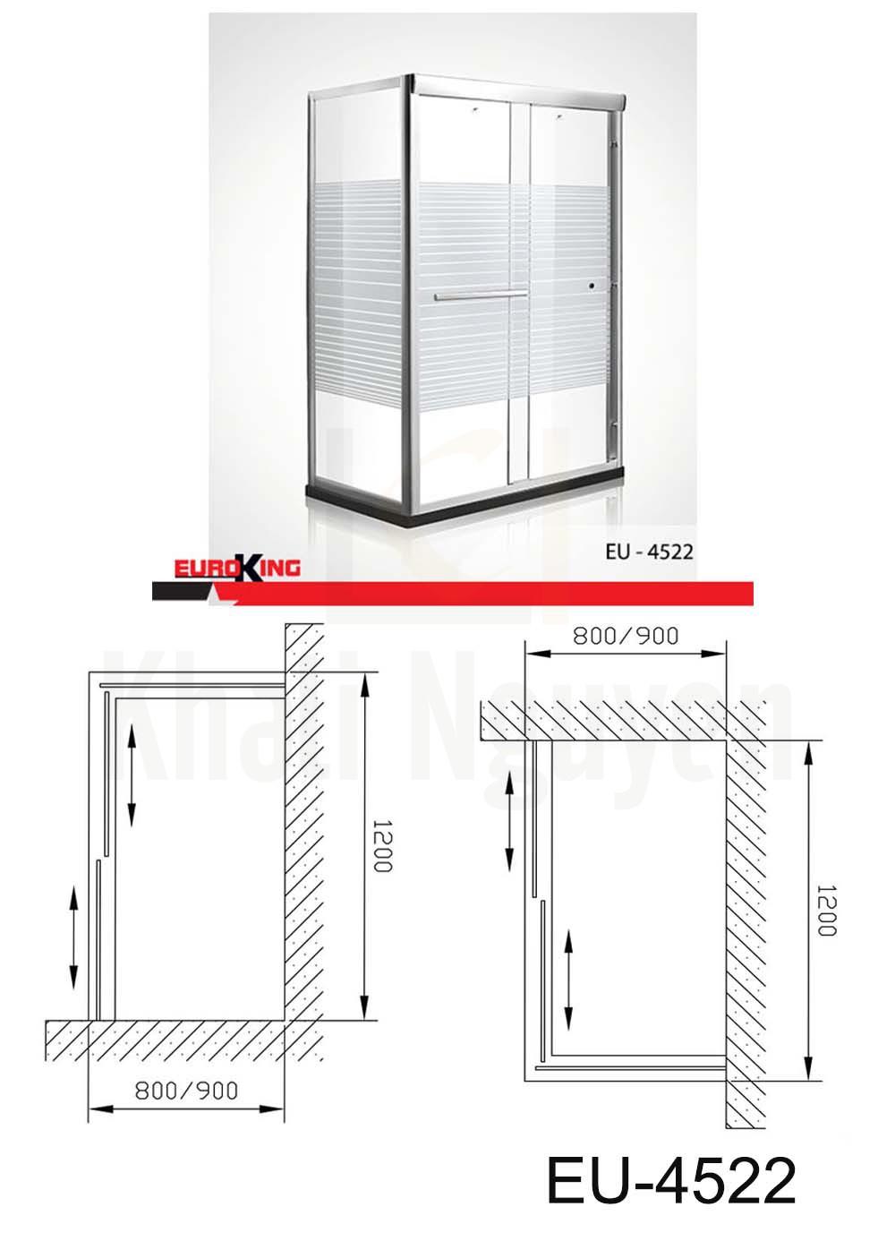 Bản vẽ Phòng tắm vách kính EuroKing EU – 4522