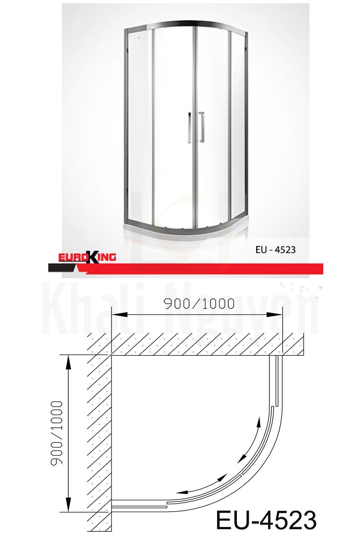 Bản vẽ kỹ thuật Phòng tắm vách kính EuroKing EU – 4523