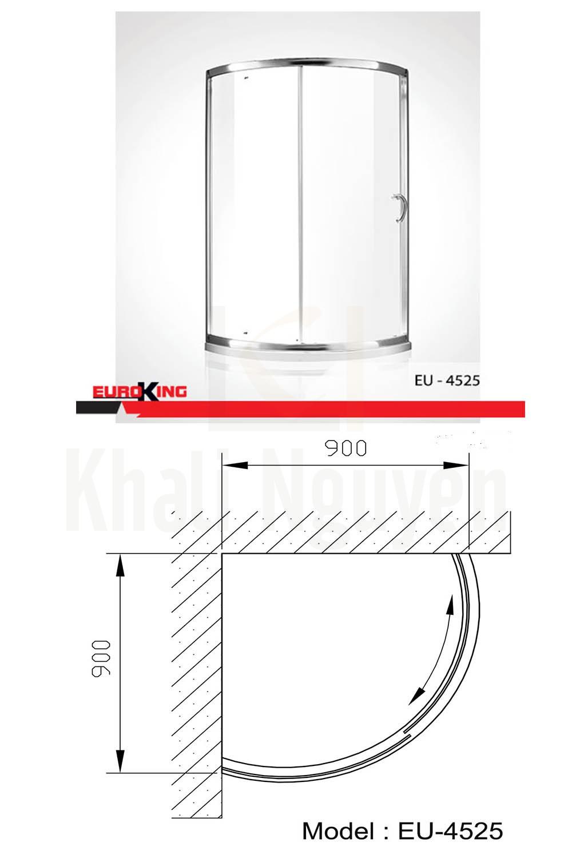 Bản vẽ kỹ thuật Phòng tắm vách kính EuroKing EU – 4525