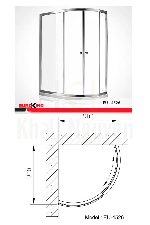 Bản vẽ kỹ thuật Phòng tắm vách kính EuroKing EU – 4526