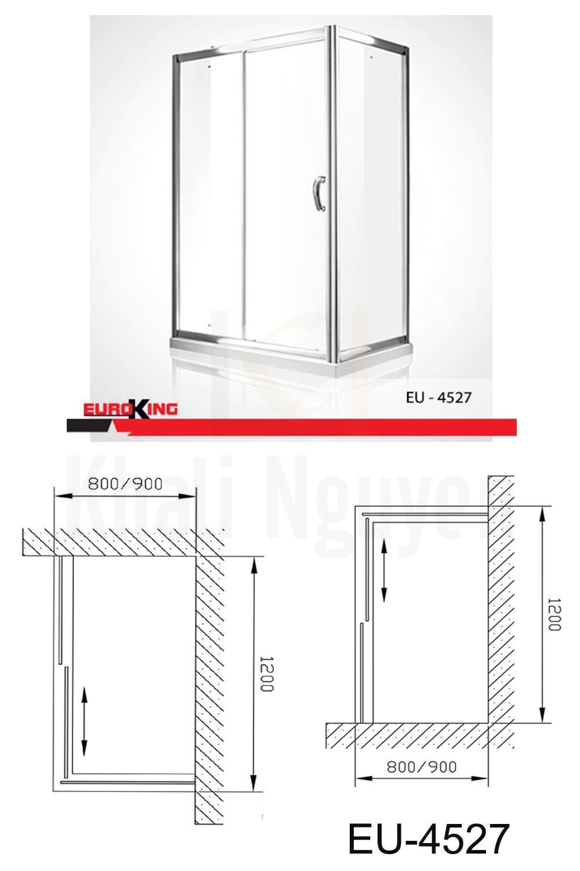 Bản vẽ kỹ thuật Phòng tắm vách kính Euroking EU- 4527