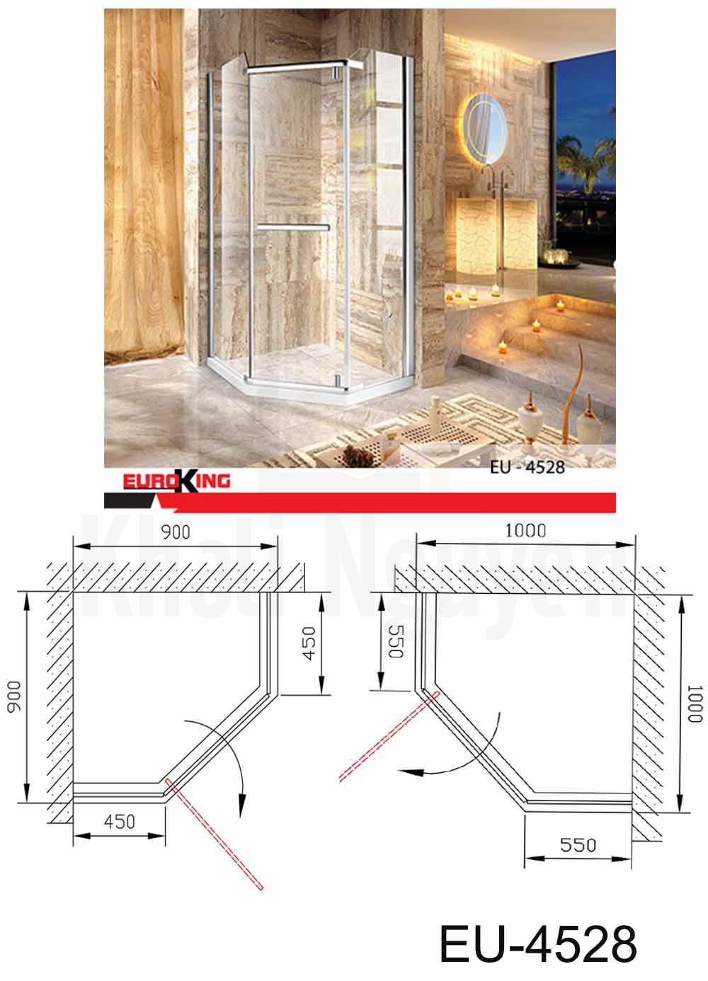 Bản vẽ kỹ thuật Phòng tắm vách kính Euroking EU- 4528