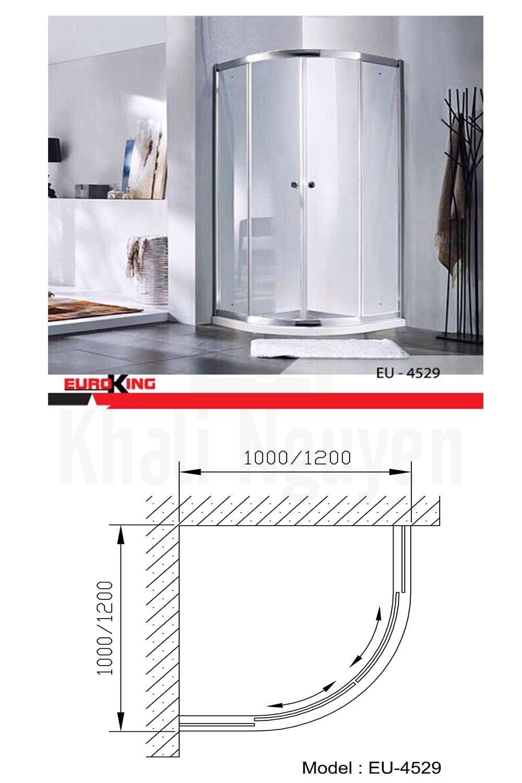 Bản vẽ kỹ thuật Phòng tắm vách kính Euroking EU- 4529