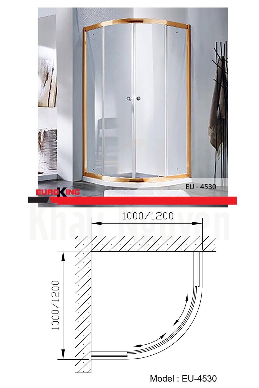 Bản vẽ kỹ thuật phòng tắm vách kính Euroking EU- 4530