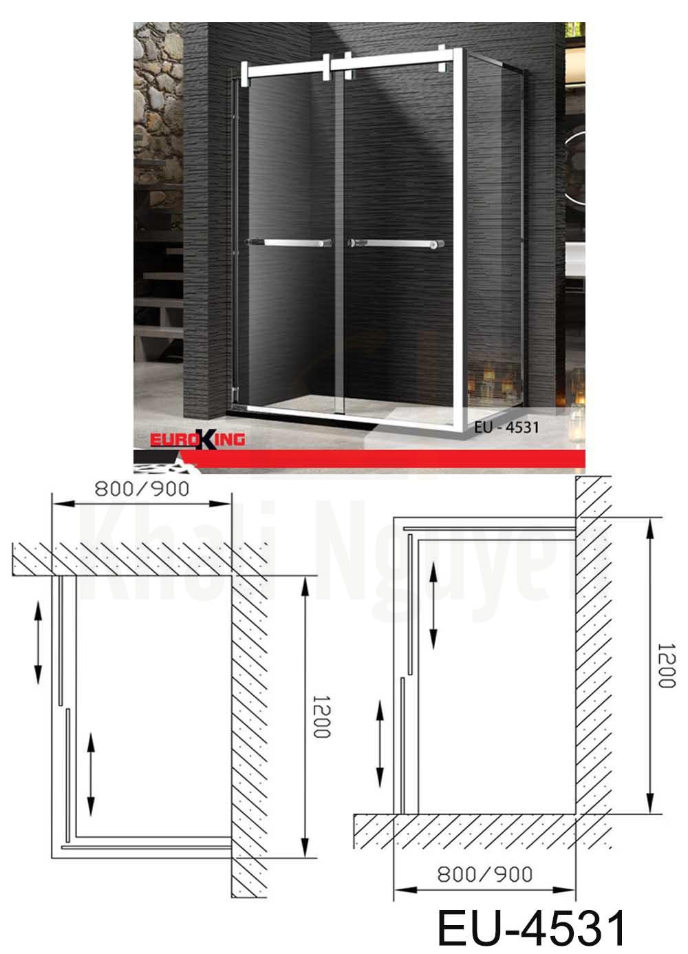 Bản vẽ kỹ thuật phòng tắm vách kính Euroking EU- 4531