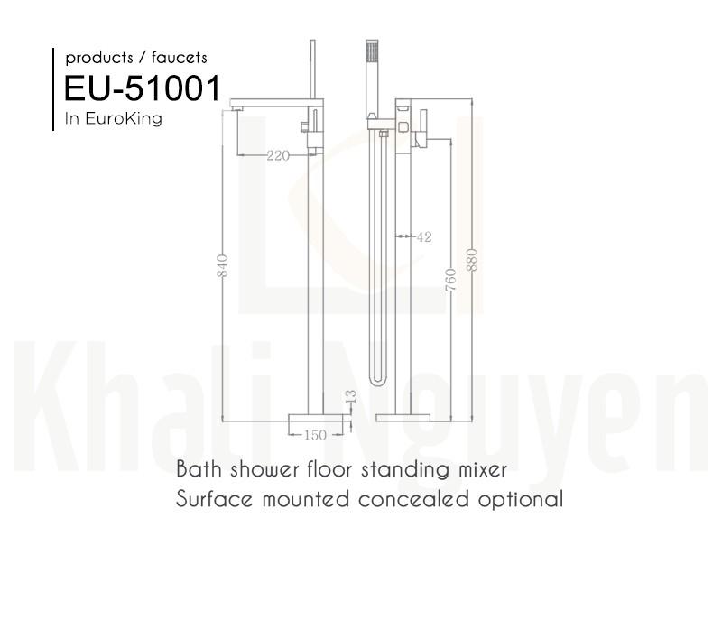 Bản vẽ sen tắm bồn EU-51001
