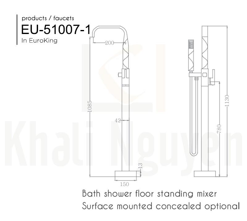 Bản vẽ Sen tắm bồn EU-51007-1