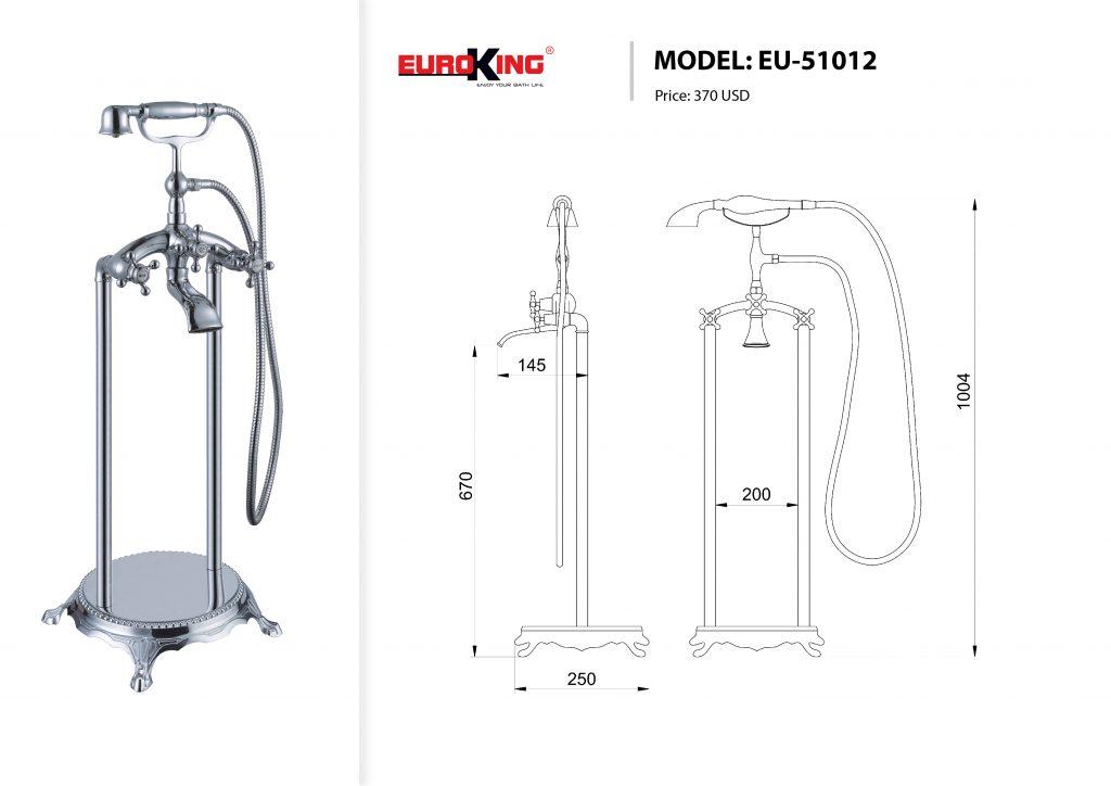 Sơ đỗ kỹ thuật Sen tắm bồn EU-51012