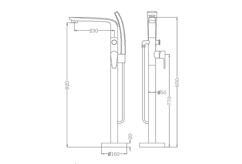 Bản vẽ sen bồn tắm EU-51026-2