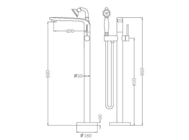 Bản vẽ Sen tắm bồn EU-51026