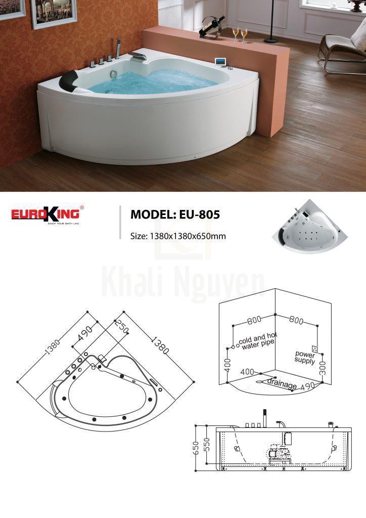 Bản vẽ sơ đồ kỹ thuật bồn tắm massage EU – 805