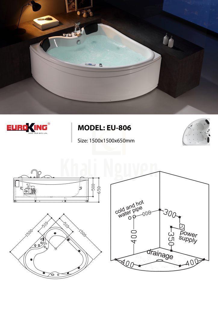 Bản vẽ sơ đồ kỹ thuật bồn tắm massage EU – 806