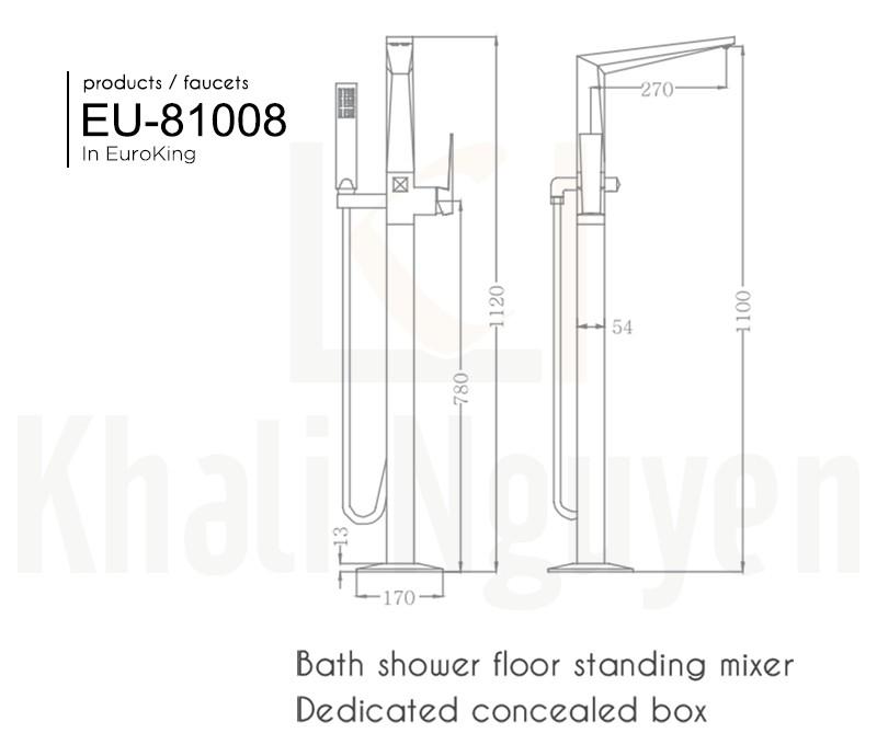 Bản vẽ sen tắm bồn EU-81008