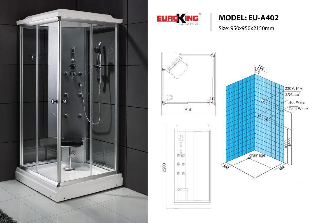 Bản vẽ sơ đồ kỹ thuật phòng xông hơi EU – A402