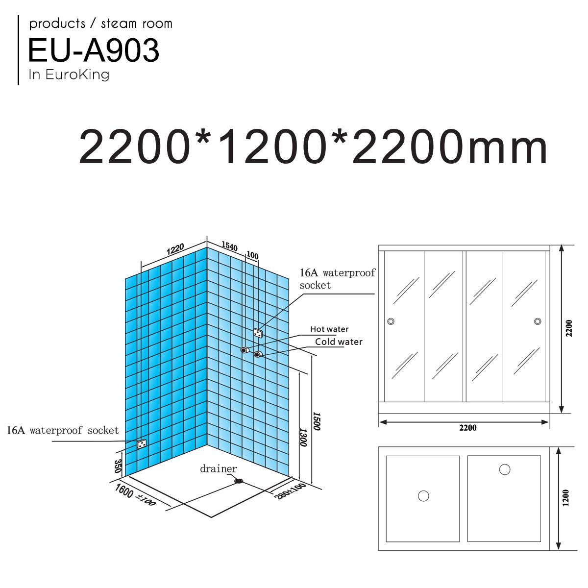 Bản vẽ PHÒNG XÔNG HƠI EU-A903