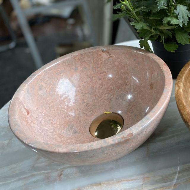 Chậu lavabo đá tự nhiên size 28 màu hồng