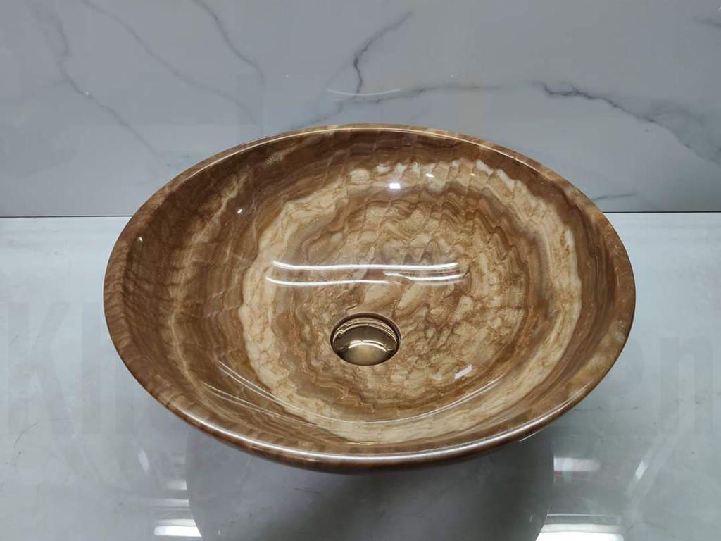 Chậu lavabo đá tự nhiên size 28 màu vân gỗ