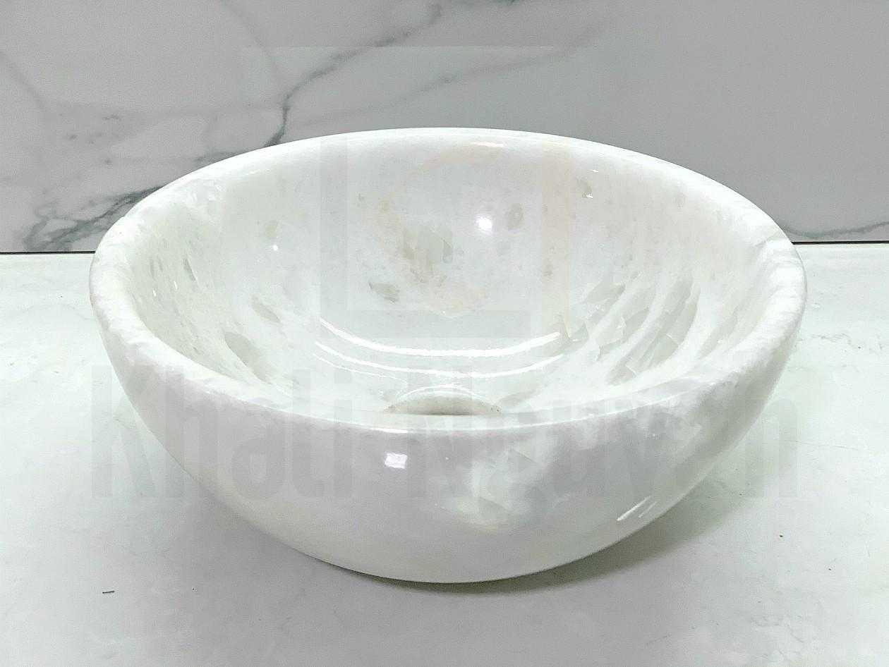 Chậu lavabo đá tự nhiên size 28 màu trắng
