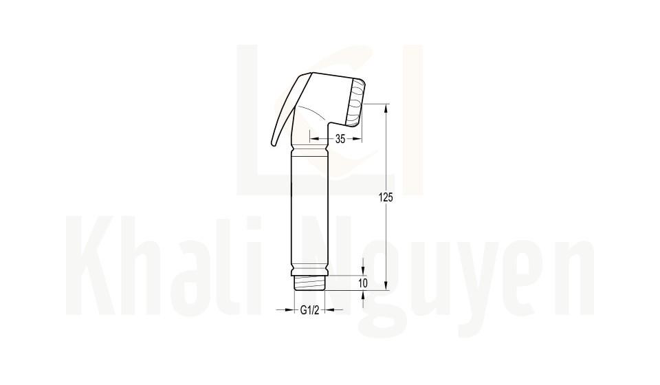 Bản Vẽ Đầu Vòi Xịt Vệ Sinh Flova FH 555